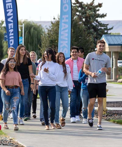 Students walking around CBC's Pasco campus
