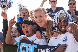 Students cheering on their team at CBC